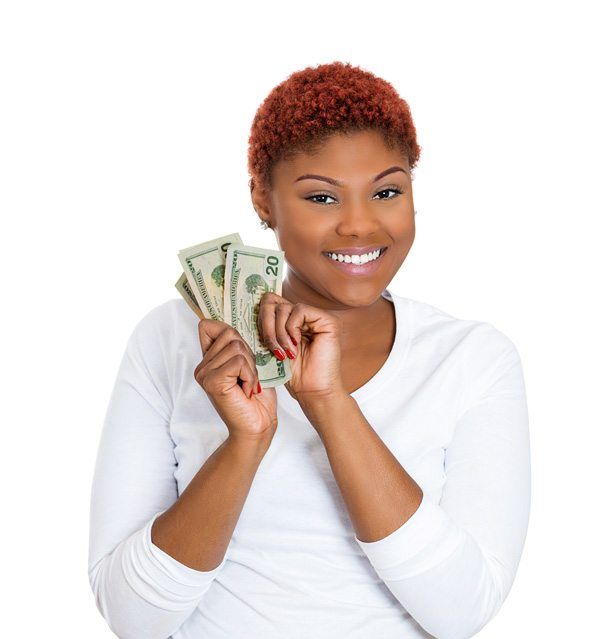 African American female with cash in hand after check cashing transaction at PAYOMATIC