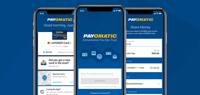 Key screens on the PAYOMATIC Mobile app