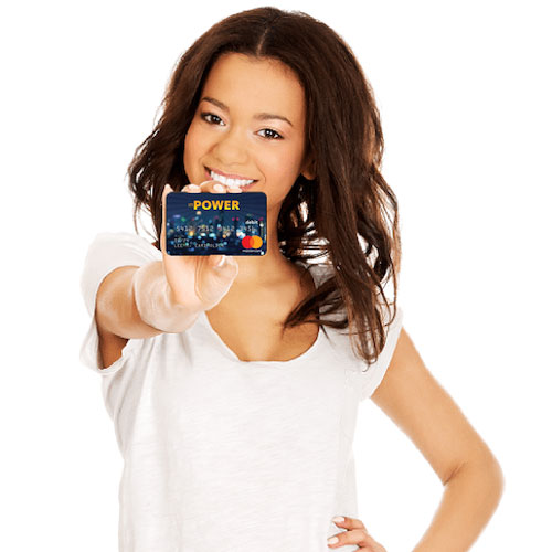 Woman holding personalized inPOWER Prepaid Card